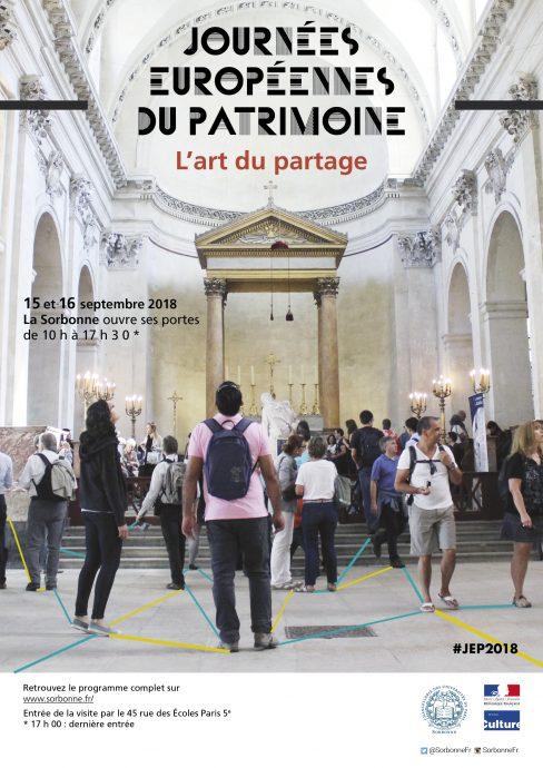 Affiche des Journées européennes du patrimoine 2018 en Sorbonne.