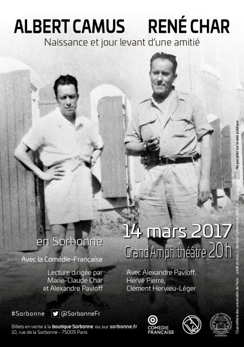 Affiche de la soirée-lecture Albert Camus - René Char en Sorbonne