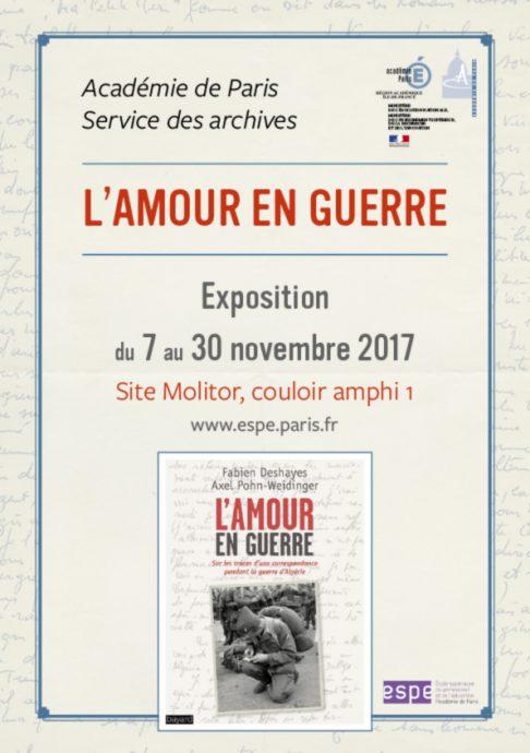Affiche de l'exposition L'amour en guerre organisée par le service des Archives et l'ESPE de l'académie de Paris