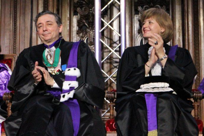 Le recteur Gilles Pécout et le vice-chancelier Marie-Laure Coquelet lors de la cérémonie des prix de la Chancellerie 2016