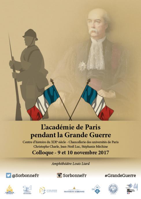 Affiche du colloque L'académie de Paris pendant la Grande Guerre organisée par le service des Archives de l'académie de Paris.