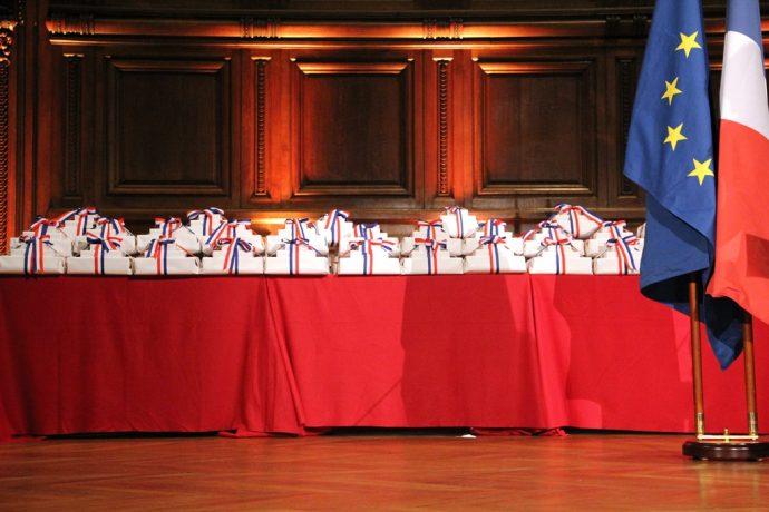 La table des prix Concours Général 2017 en Sorbonne.