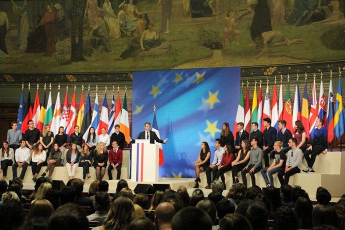 La scène du discours sur l'Europe prononcé le président de la République Emmanuel Macron en Sorbonne le 26 septembre 2017.