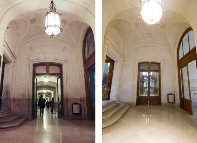 Un accès à la galerie Gerson avant rénovation (à gauche) et après rénovation (à droite).