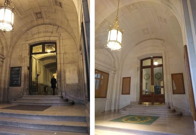 L'une des entrée de la galerie Gerson avant rénovation (à gauche) et après rénovation (à droite).