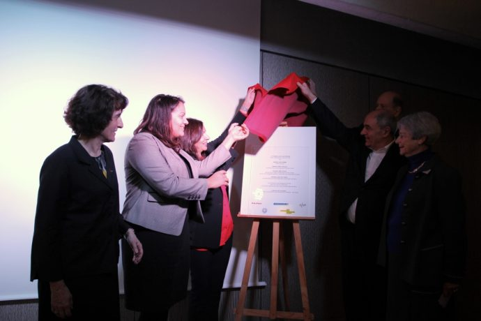 Inauguration de la Fondation Victor Lyon rénovée de la CiuP -dévoilement de la plaque.