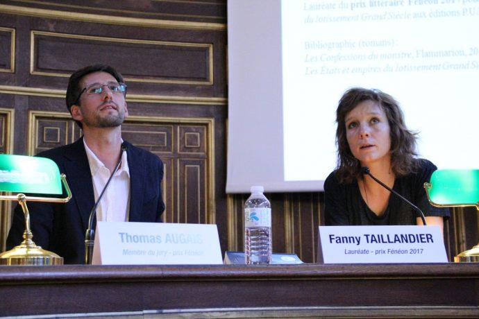 Fanny Taillandier, lauréate 2017 du prix Fénéon pour son ouvrage « Les États et empires du lotissement Grand Siècle » (éditions PUF), en pleine discussion.
