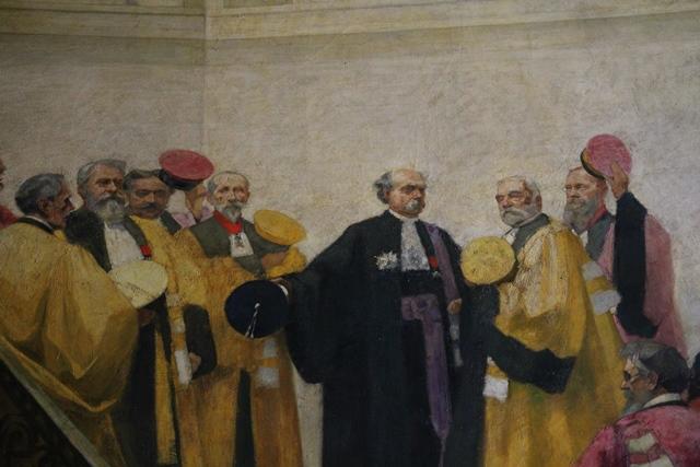 Le Vice-Recteur Louis Liard accueille, en 1903, le directeur de l'École normale supérieure Ernest Lavisse – Détail de L'accueil de l'École normale supérieure, tableau d'André Dewambez sis dans la Salle des Actes en Sorbonne.