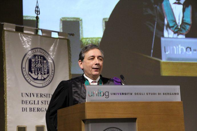 Le Recteur Gilles Pécout lors de la cérémonie inaugurale de l'année universitaire 2017-2018 de l'UniBG à Bergame.