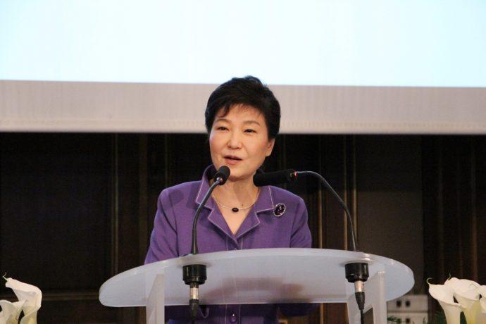 Mme Park Geun-hye lors de son discours.