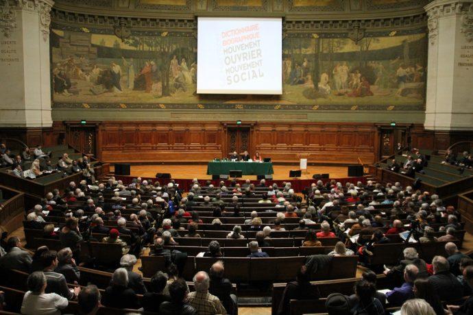 Le Printemps du Maitron en Sorbonne, débat dans le Grand Amphithéâtre.