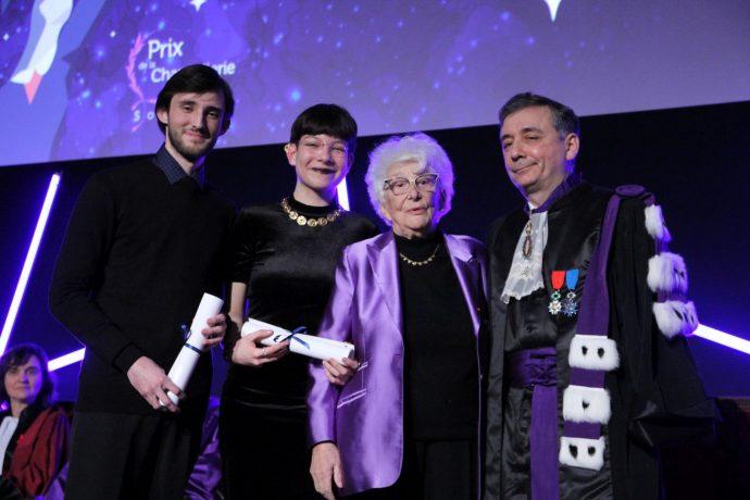 De gauche à droite, Rémy Roger, Amélie Duverran-Lejas, Yvette Roudy et Gilles Pécout lors de la cérémonie de remise du prix Roudy 2018.