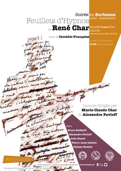 Affiche de la soirée lecture René Char en Sorbonne