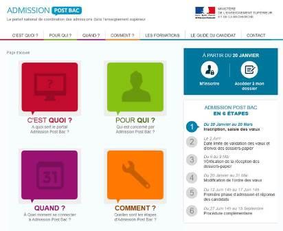 Écran d'accueil du site APB