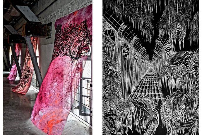 Deux œuvres de Salomé Fauc : La fleur voit (à gauche) et Parmi les agapanthes (à droite).