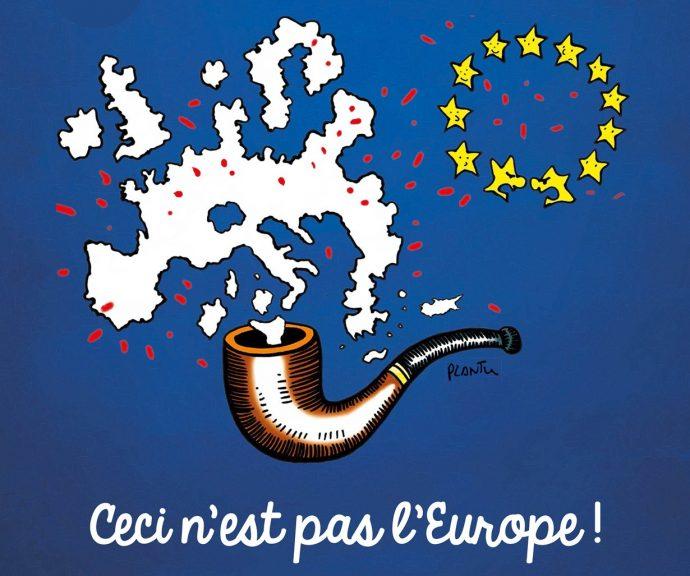 Ceci n'est pas l'Europe, oeuvre de Plantu pour l'exposition itinérante Décoder les étoiles. © Plantu et Cartooning for Peace