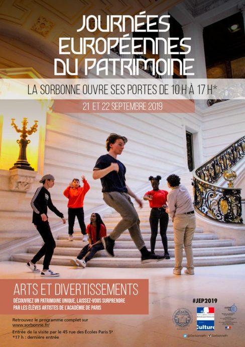 Affiche des Journées européennes du patrimoine 2019 en Sorbonne. Le thème de cette 36e édition est : arts et divertissement.