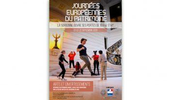 Vignette pour l'article des JEP 2019 mettant en scène l'affiche des Journées européennes du patrimoine 2019 en Sorbonne. Le thème de cette 36e édition est : arts et divertissement.