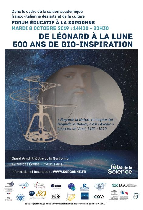 Affiche du forum pédagogique « De Léonard à la Lune 500 ans de Bio-Inspiration », qui se déroule le Mardi 8 octobre 2019 dans le Grand Amphithéâtre en Sorbonne avec 27 personnalités et scientifiques d'envergure internationale.