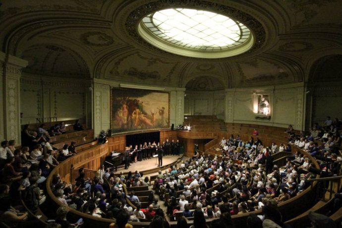 Concert de l'Orchestre et Chœur des Universités de Paris - OCUP - dans l'amphithéâtre Richelieu en Sorbonne.