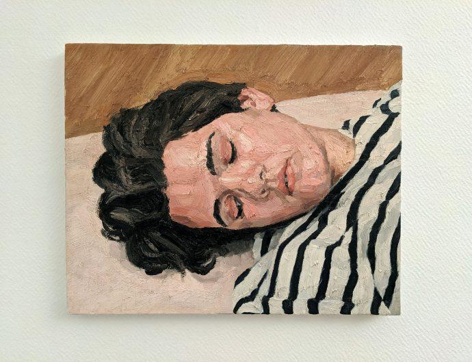 Oeuvre de Maxime Biou, lauréat du prix artistique Fénéon 2019 de la Chancellerie des universités de Paris. Portrait d'une femme endormie.