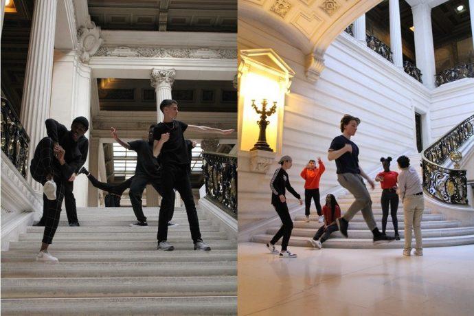 Des élèves de la section ambition scolaire danse hip-hop du Lycée Turgot dansent en Sorbonne.