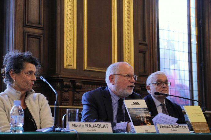 Marie Rajablat et Samuel Sandler, co-lauréats du Prix Seligmann 2018, lors de la remise du prix en Sorbonne le 19 mars 2019.