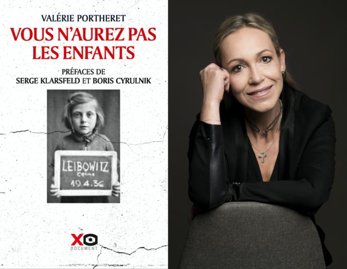 Couverture du prix Seligmann 2020, « Vous n'aurez pas les enfants », préfacé par Serge Klarsfeld et Boris Cyrulnik et paru en février 2020 aux Éditions XO et portrait photographique de son auteure, l'historienne Valérie Portheret.